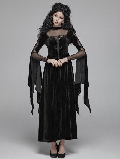 Punk Rave Black Gothic Witch Long Sleeve Velvet Maxi Dress