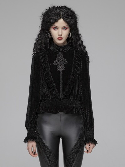 Punk Rave Black Vintage Gothic Velvet Long Sleeve Blouse for Women