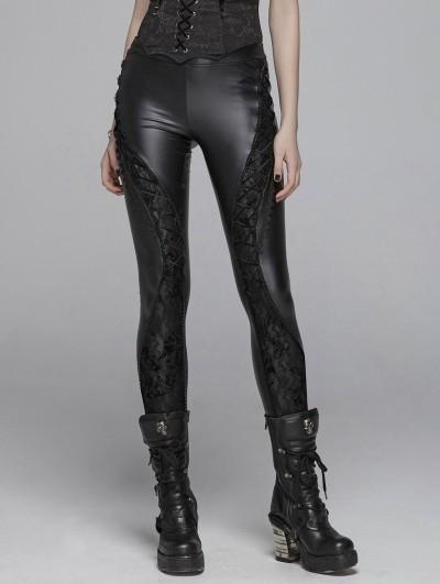 Punk Rave Black Gothic PU Lace Legging Pants for Women
