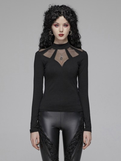Punk Rave Black Gothic Hollow-out Long Sleeve T-Shirt for Women