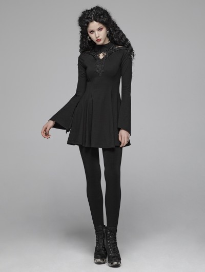 Punk Rave Black Gothic Lace Hollow-out A Line Short Dress