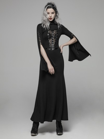 Punk Rave Dark Gothic Punk Long Trumpet Sleeve Sexy Maxi Dress