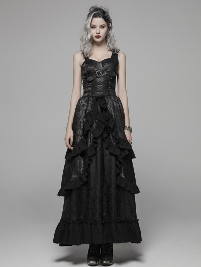 Punk Rave Black Gothic Steampunk Buckle Belt Long Dress