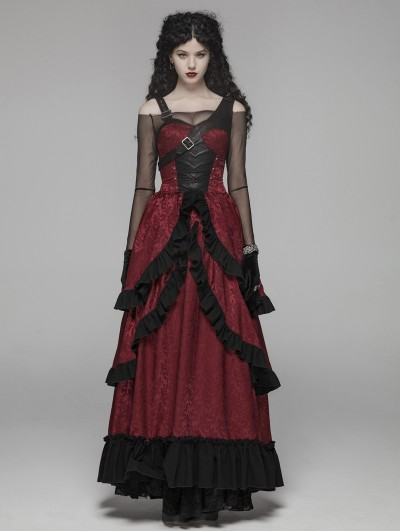 Punk Rave Red Steampunk Buckle Belt Long Dress