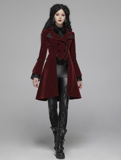 Punk Rave Red Vintage Gothic Palace Style Velvet Long Coat for Women