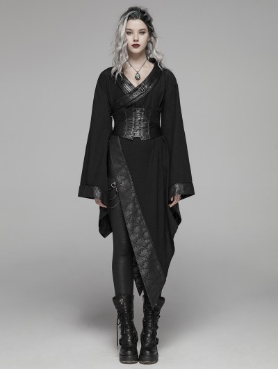 Punk Rave Dark Gothic Punk Asymmetric Kimono for Women