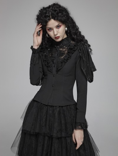 Punk Rave Black Vintage Gothic Lace Long Sleeve Shirt for Women