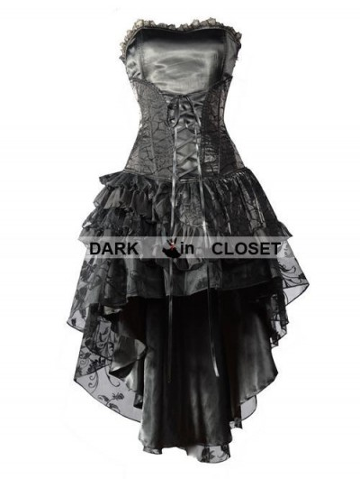 Pentagramme Black Corset High-Low Layer Skirt Gothic Party Dress