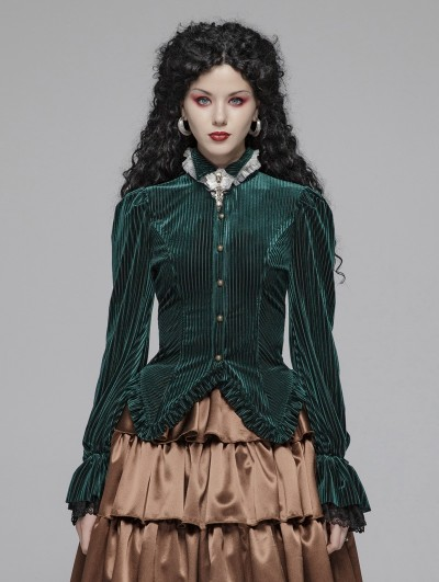 Punk Rave Green Vintage Gothic Velvet Long Sleeve Shirt for Women