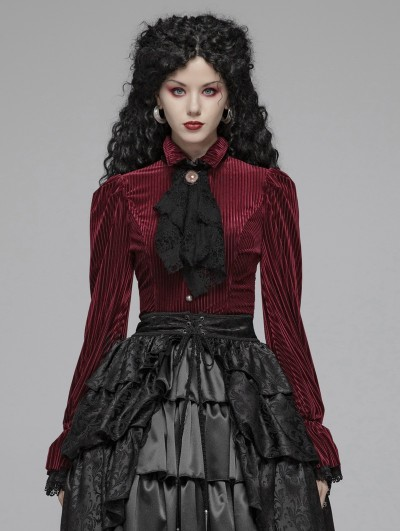 Punk Rave Red Vintage Gothic Velvet Long Sleeve Shirt for Women