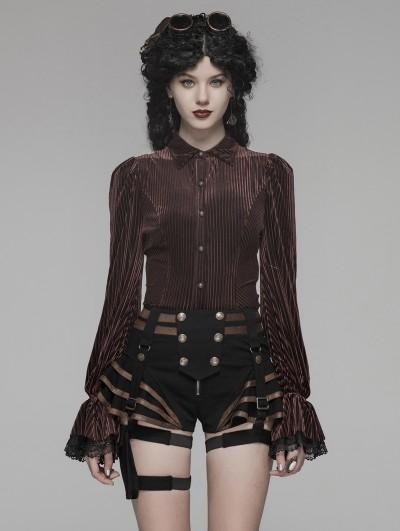 Punk Rave Brown Vintage Gothic Velvet Long Sleeve Shirt for Women