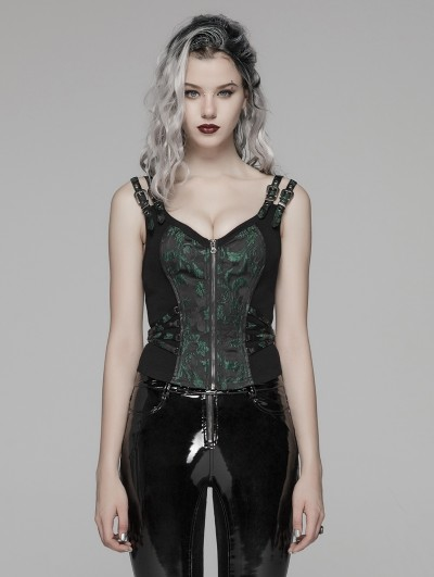 Punk Rave Green Gothic Steampunk Jacquard Corset Top for Women