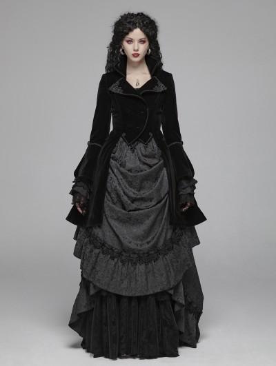 Punk Rave Black Vintage Gothic Palace Style Velvet Long Coat for Women