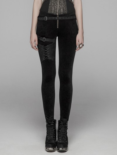 Punk Rave Black Gothic Velvet Steampunk Legging Pants for Women