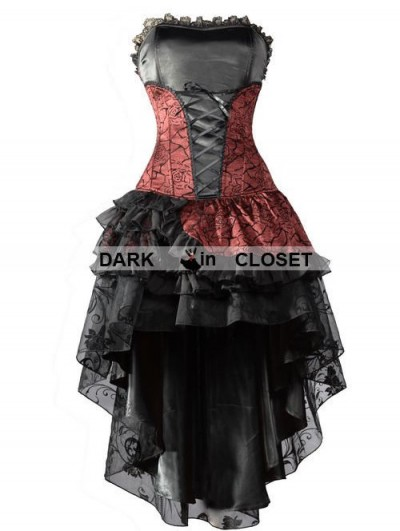 Pentagramme Wine Red Corset High-Low Layer Skirt Gothic Party Dress