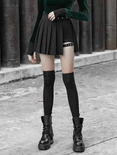 Punk Rave Black Street Fashion Gothic Punk Pleated Plaid Mini Skirt