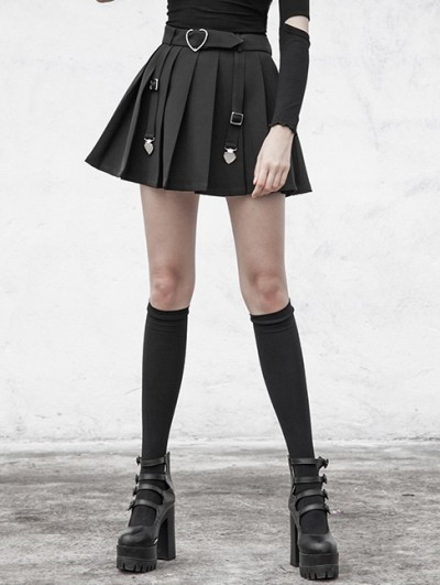 Punk Rave Black Street Fashion Gothic Pleated Plaid Mini Skirt