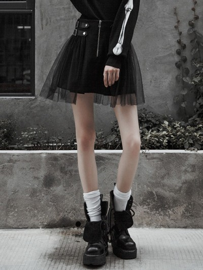 Punk Rave Black Street Fashion Gothic Punk Mini Skirt