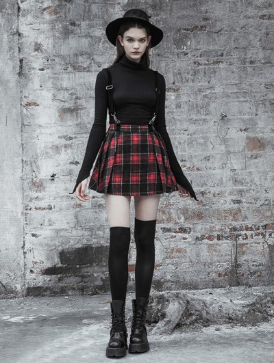 Punk Rave Red Street Fashion Gothic Punk Plaid Short Suspender Skirt