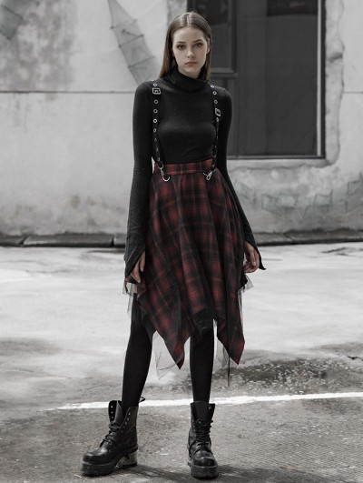 Punk Rave Red Street Fashion Gothic Punk Irregular Plaid Midi Suspender Skirt
