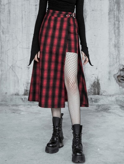 Punk Rave Red Street Fashion Gothic Punk High-Low Plaid Long Skirt
