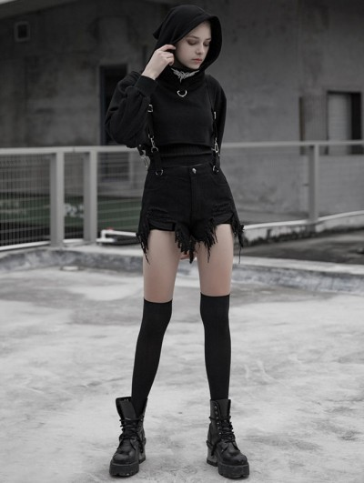 Punk Rave Black Street Gothic Punk Denim Strap Shorts for Women