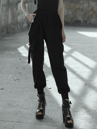 Punk Rave Women's Black Street Gothic Punk Overalls Trousers with Chain