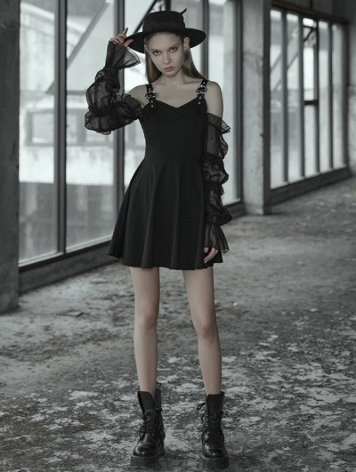 Punk Rave Black Street Sweet Gothic Short Dress with Detachable Sleeves