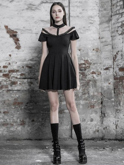 Punk Rave Black Gothic Off-the-Shoulder A-Line Short Dress