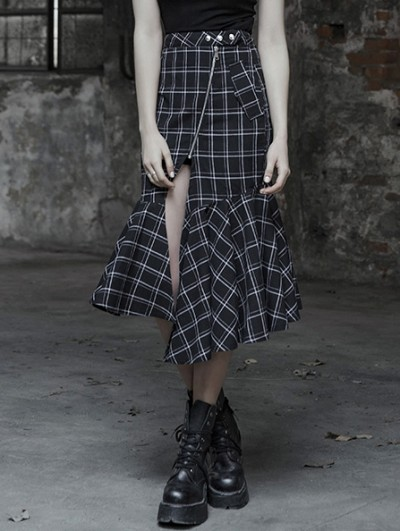 Punk Rave Black and White Street Gothic Punk Irregular Plaid Half Skirt