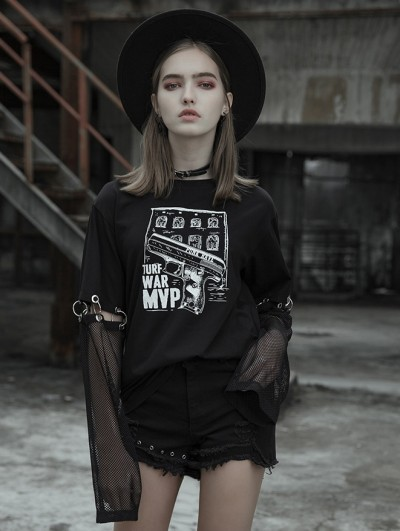 Punk Rave Women's Black Street Gothic Punk Printing T-Shirt with Detachable Sleeves