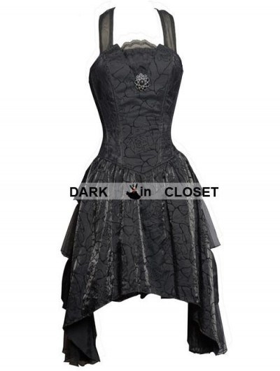 Pentagramme Black Halter Short Gothic Party Dress with Irregular Skirt