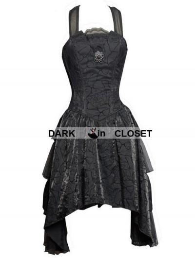 Pentagramme Black Halter Short Gothic Party Dress with Irregular Skirt