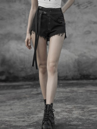 Punk Rave Black Street Fashion Gothic Punk Belt Shorts for Women