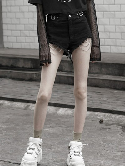 Punk Rave Black Street Fashion Gothic Punk Chain Shorts for Women