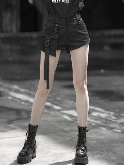 Punk Rave Black Street Fashion Gothic Punk Shorts with Detachable Pocket