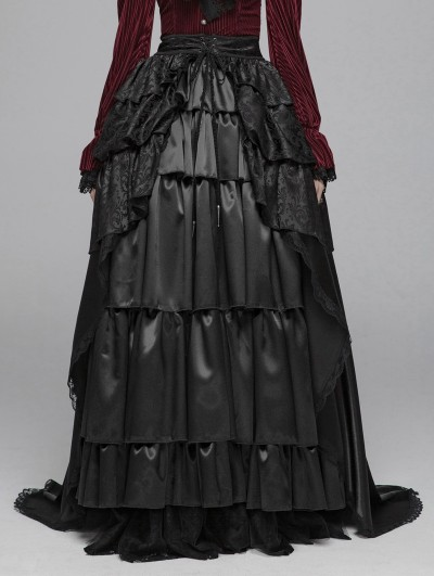 Punk Rave Black Vintage Gothic Palace Long Skirt