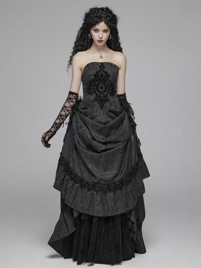 Punk Rave Black Gothic Jacquard Long Party Dress