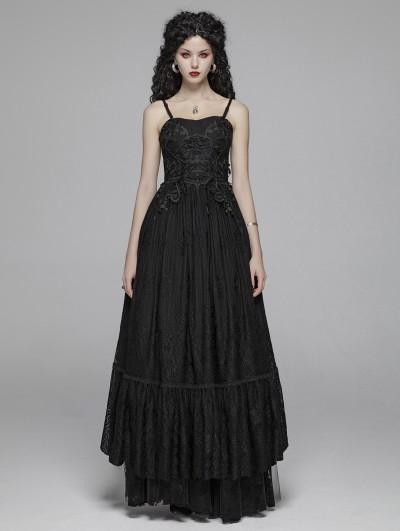 Punk Rave Black Gothic Long Lace Party Dress
