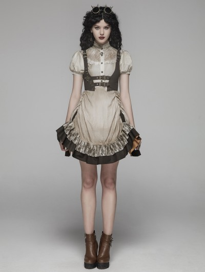 Punk Rave Ivory Steampunk Short Dress