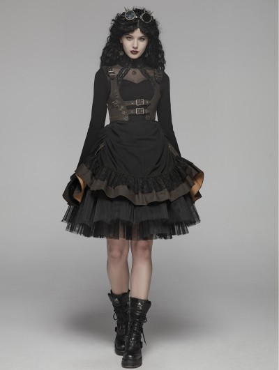 Punk Rave Black Steampunk Short Dress