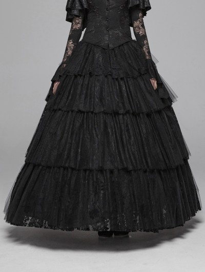 Punk Rave Black Gothic Long Tiered Lace Skirt