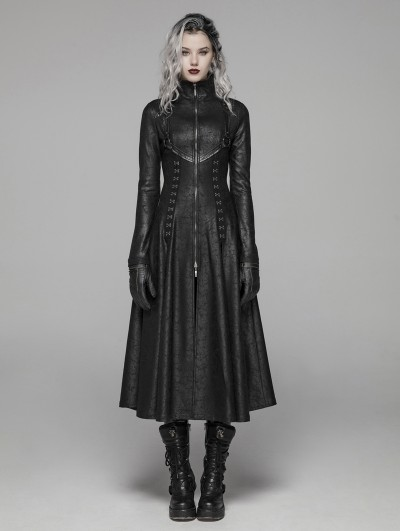 Punk Rave Black Gothic Dark Punk Long Coat for Women