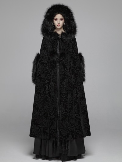 Punk Rave Black Gothic Gorgeous Winter Warm Cloak for Women