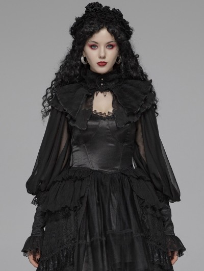 Punk Rave Black Gothic Lolita Big Puff Sleeve Cape for Women