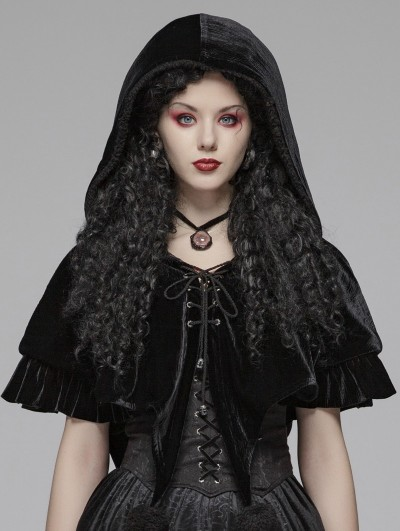 Punk Rave Black Gothic Lolita Velvet Short Hooded Cape for Women