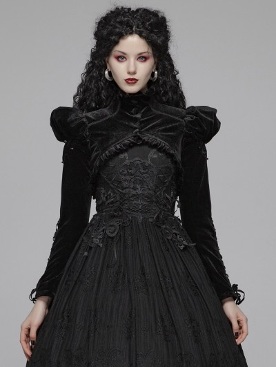 Punk Rave Black Vintage Gothic Bubble Long Sleeve Short Jacket Cape for Women