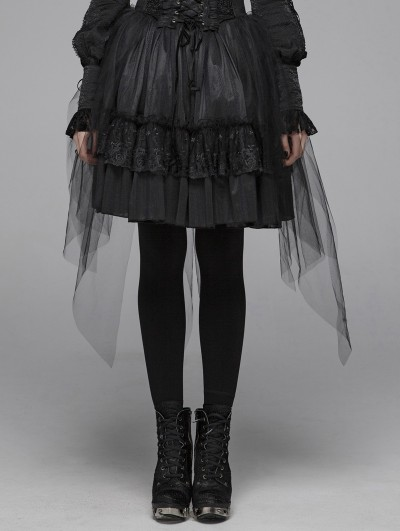 Punk Rave Black Gothic Lolita Butterfly Mesh Half Skirt for Women