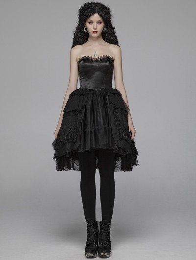 Punk Rave Black Sweet Gothic Lolita Irregular Lace Short Dress