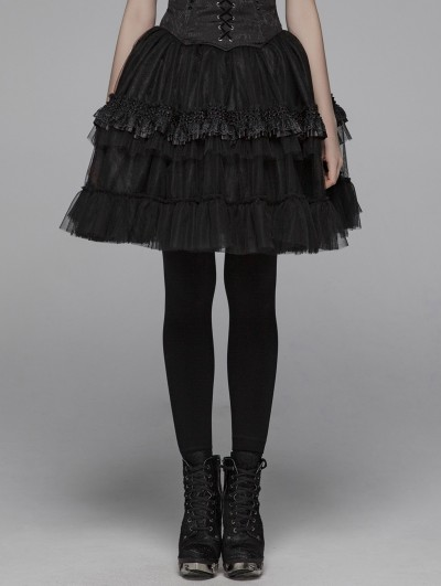 Punk Rave Black Gothic Lolita Short Puffy Skirt for Women